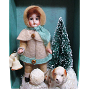 "4"" All Bisque Antique (glass eyes, swivel neck) Miniature doll & Puppy with Snow/ tree display"
