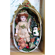 "Tiny sweet 3"" All Bisque Miniature Antique Dollhouse doll in Christmas Display/ Ornament Box"