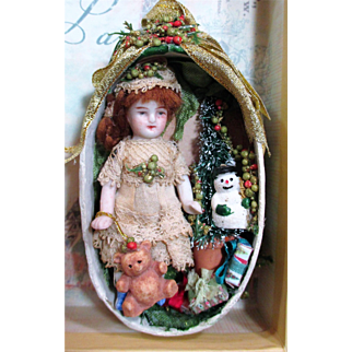 """Tiny sweet 3"""" All Bisque Miniature Antique Dollhouse doll in Christmas Display/ Ornament Box"""