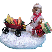 """ Home For Christmas"" Tiny 2"" swivel neck Bisque miniature dollhouse doll/ Christmas Display"