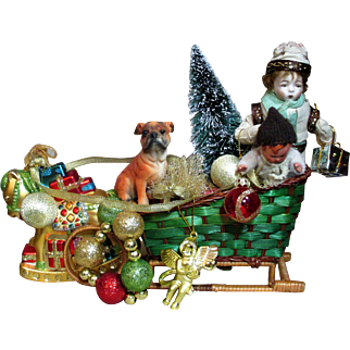 """ Santa's Little Helpers"" Two little 6"" & 3 1/2"" Bisque Elf boys with Sled of Christmas Gifts"