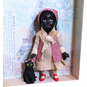 "Tiny Sweet 3"" all Bisque Miniature Black Dollhouse doll & black kitten"
