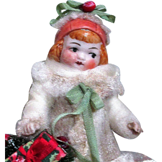 """"""" waiting For Santa"""" Sweet 4"""" (swivel neck) All Bisque Miniature little dollhouse doll & friends"""