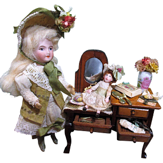 """Sweet & Tiny 2"""" Miniature Dollhouse doll in Art Easel Display"""