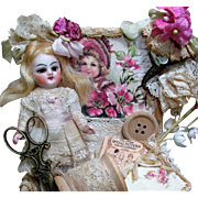 "Lovely dreamy 3 1/2"" All Bisque Antique (glass eyes, swivel neck) Miniature Mignonette Dollhouse doll in Sew box"