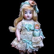 "Precious Rare 4"" All Bisque Antique German Mignonette dollhouse doll & baby"