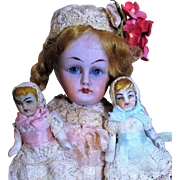 "Lovely 6"" All Bisque (Glass eyes, swivel neck) Antique Mignonette doll & Two tiny 2"" Antique Babies"