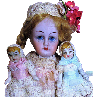 """Lovely 6"""" All Bisque (Glass eyes, swivel neck) Antique Mignonette doll & Two tiny 2"""" Antique Babies"""