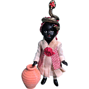 """Mini Little 3 1/4"""" all Bisque Miniature Black/ African Snake Charmer Dollhouse doll"""