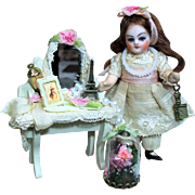 """"""" Makeover Time"""" Tiny & so sweet 3 1/2"""" Antique (glass eyes, swivel neck) Bisque head Mignonette dollhouse doll & accessories"""