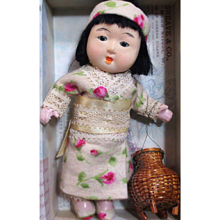 """Sweet 6"""" Vintage Composition Japanese Baby doll (glass eyes, swivel neck)"""