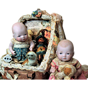 "Two So Sweet 51/2"" All Bisque (swivel neck) Baby Dolls & friends in trunk of accessories"