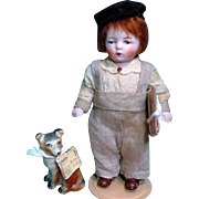 """ News Paper boy & Puppy"" Sweet 4 1/2"" All Bisque Antique Dollhouse doll boy & puppy"