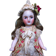 "Gorgeous 3 1/2"" All Bisque Miniature Dollhouse doll & bunny friend"