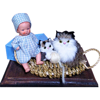 """So cute 3 1/2"""" Antique  Composition baby boy dollhouse doll with two furry kitten friends"""