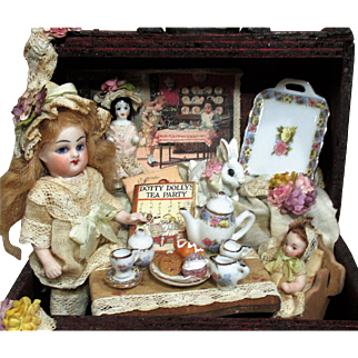""""""" Tea Party"""" Sweet 3 1/2"""" All Bisque Antique (glass eyes, swivel neck) Mignonette doll & Dolls in trunk of accessories"""