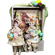 """"""" Fairy Tale Easter""""  Two 5"""" Bisque head (glass eyes, swivel neck) Poseable Bunny Girls & a rabbit in Easter Display"""