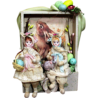 """ Fairy Tale Easter""  Two 5"" Bisque head (glass eyes, swivel neck) Poseable Bunny Girls & a rabbit in Easter Display"