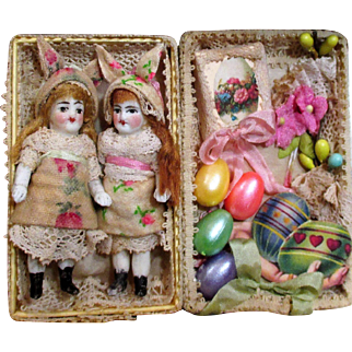 """Two Tiny 2 1/4"""" All Bisque Antique German Bunny Baby dolls in Easter box"""