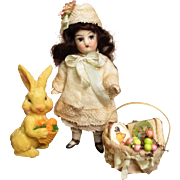 "Sweet 4"" All Bisque Antique French (glass eyes, swivel neck) Mignonette doll house doll & Bunny rabbit friend"