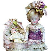 """Tiny 3"""" All Bisque antique German Miniature Dollhouse doll & Baby dolly in crib"""