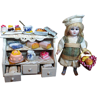 "Tiny little 3 1/2"" All Bisque Antique Mignonette (glass eyes) Baker Doll & Bakery/ sweets & Shelf"
