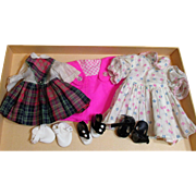"Three Pairs of Cute little cotton vintage doll dresses & shoes for larger dolls (9"" & up)"