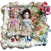"""Two Sweet & Tiny 3"""" All Bisque Miniature Antique Dollhouse dolls in Display box"""