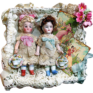 "Two Sweet & Tiny 3"" All Bisque Miniature Antique Dollhouse dolls in Display box"