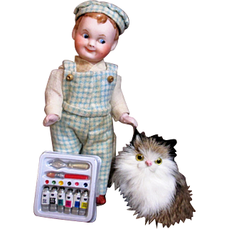 "Sweet Smiling 5 1/2"" All Bisque (swivel neck) German Miniature Dollhouse boy & Furry kitten"