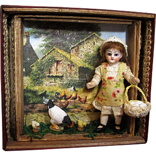 """"""" Spring Welcome, 3 1/2"""" Antique Bisque (glass eyes, swivel neck) dollhouse doll """" Farm girl & chickens in Display Frame"""