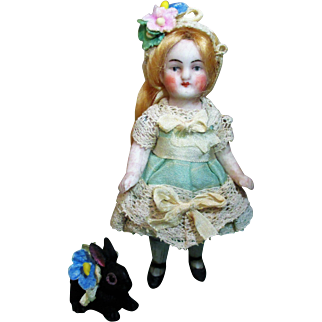 """Lovely 3 1/2"""" all Bisque Antique Miniature dollhouse doll & tiny bunny friend"""