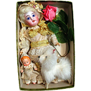 """Lovely 8 1/2"""" Bisque head (glass eyes), composition body Antique Doll, 3 1/4"""" Baby doll & furry puppy in Box"""