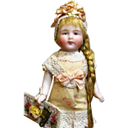 "Lovely 4"" All Bisque Antique German Miniature Dollhouse doll"