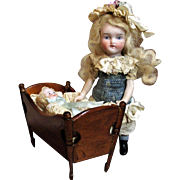 """Lovely 5"""" All Bisque Antique German Miniature Dollhouse Doll & 2 1/2"""" Antique Baby doll in Crib"""