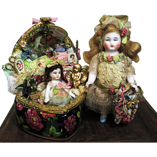 """lovely 3 1/2"""" All Bisque Antique German Miniature Dollhouse doll"""