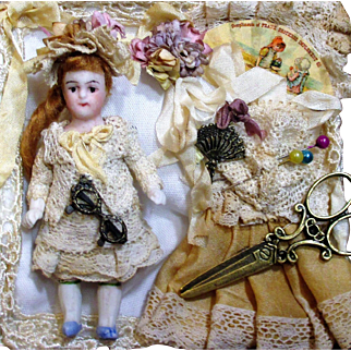 """Sweetest 3"""" All Bisque Antique Miniature Dollhouse doll in Mini display box"""