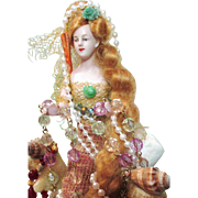 "Gorgeous 9"" Antique Bisque Half Doll Mermaid on Sea Coral"