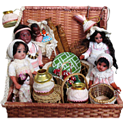 """"""" Native Family"""" Gorgeous Group of 5+ Antique Bisque (Glass eyes, swivel neck) Dolls (3 1/2"""" -8"""") in Basket of accessories"""