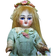 """Sweet 4"""" Bisque (glass eyes, swivel neck) Miniature Antique Mignonette Doll house doll"""