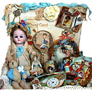 "Tiny 2 1/4"" All Bisque Antique German miniature Dollhouse doll in velvet keepsake box"