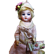 """Lovely 5"""" Bisque Head (glass eyes) Antique Mignonette Dollhouse doll"""