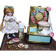 """Sweet 3 1/2"""" All Bisque Antique (glass eyes) Mignonette doll in mirrored vanity/soap box"""