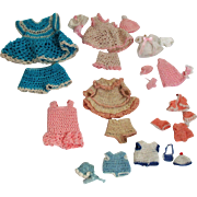 "Tiny vintage Crochet Dresses, shorts, hats & more for Miniature All bisque Dolls (1 1/2""-6"")"