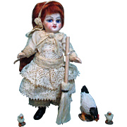 """"""" Red Head Cinderella"""" & friends,  Lovely 4"""" Bisque (glass eyes, swivel neck) Miniature Antique Doll house doll"""