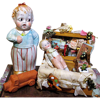""" Toy Box Dolls"" Two all bisque Antique German (5 1/2"" & 3 1/2"") Figurine dolls & Toy box"