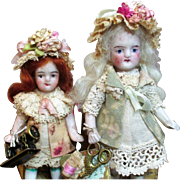 "Two Sweet 3"" & 3 1/2"" All Bisque Antique German Miniature Dollhouse sisters"