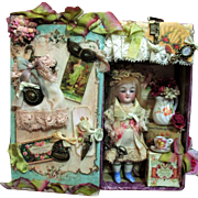 """Tiny 3 1/2"""" All Bisque Antique (glass eyes) Miniature Mignonette Doll in Musical Display box"""