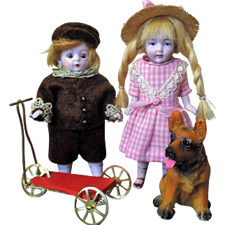 """"""" Best Friends Forever""""  A Boy, A girl , A Puppy & a Scooter, Two  4 1/2"""" All Bisque Antique Miniature Dolls & Puppy Friend"""