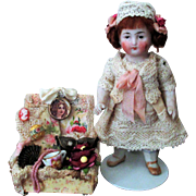 """Lovely 4 1/4"""" All Bisque Antique Mignonette Doll with little box of memories"""